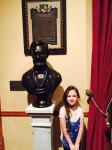 B with Abe's bust. We opted to leave the huge camera at home so picture isn't the best quality.